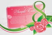 玫瑰植物卡片矢量图