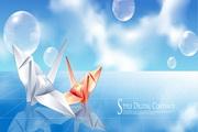 千纸鹤与气泡主题矢量素材