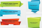 折纸效果Banner矢量素材