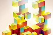 色彩方块矢量背景设计素材