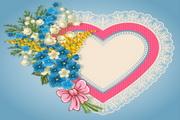 情人节花卉装饰边框矢量