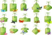 绿色自然主题吊牌矢量