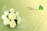 白色玫瑰装饰PSD分层素材
