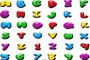 多彩卡通英文字母矢量素材