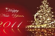 金光闪闪的圣诞树EPS矢量素材2011年字体