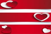 红色心形横幅矢量模板