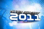 2011立体字设计EPS矢量素材 蓝色背景