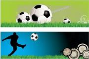 足球元素横幅矢量素材