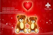可爱熊名片设计PSD素材
