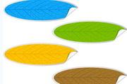多彩树叶贴纸矢量模板