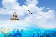 蓝天海水背景PSD创意设计