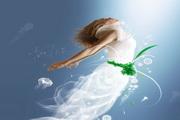 唯美水中飞翔女子psd分层素材