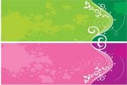 彩色花纹横幅矢量图