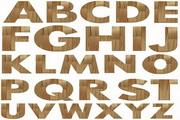 26个英文字母木纹背景矢量图