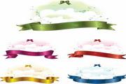 彩色丝带可爱云层矢量图