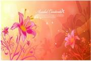 炫彩花卉装饰卡片设计素材