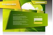 创意绿色网页模板矢量素材