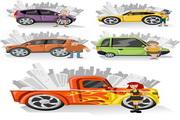 卡通人物与汽车矢量