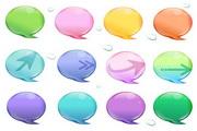 水晶色彩泡泡图标矢量
