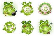 春天绿叶图案矢量