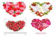 玫瑰花组成的爱心矢量