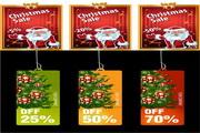 圣诞贺卡与吊牌矢量