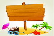 热带装饰木纹指示牌矢量