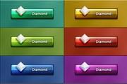 彩钻质感按钮PSD素材