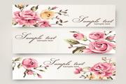 玫瑰花装饰横幅壁纸矢量设计