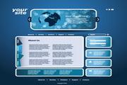蓝色网页设计矢量模板
