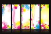 幻彩花纹展板矢量模板