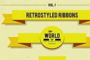 黄色炫彩丝带标签矢量设计