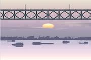 矢量夕阳风景素材8