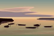 矢量夕阳风景素材17