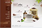 棕色咖啡馆网页设计PSD分层