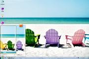 阳光沙滩彩椅win7桌面 1.0