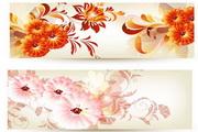 炫彩花卉装饰横幅矢量