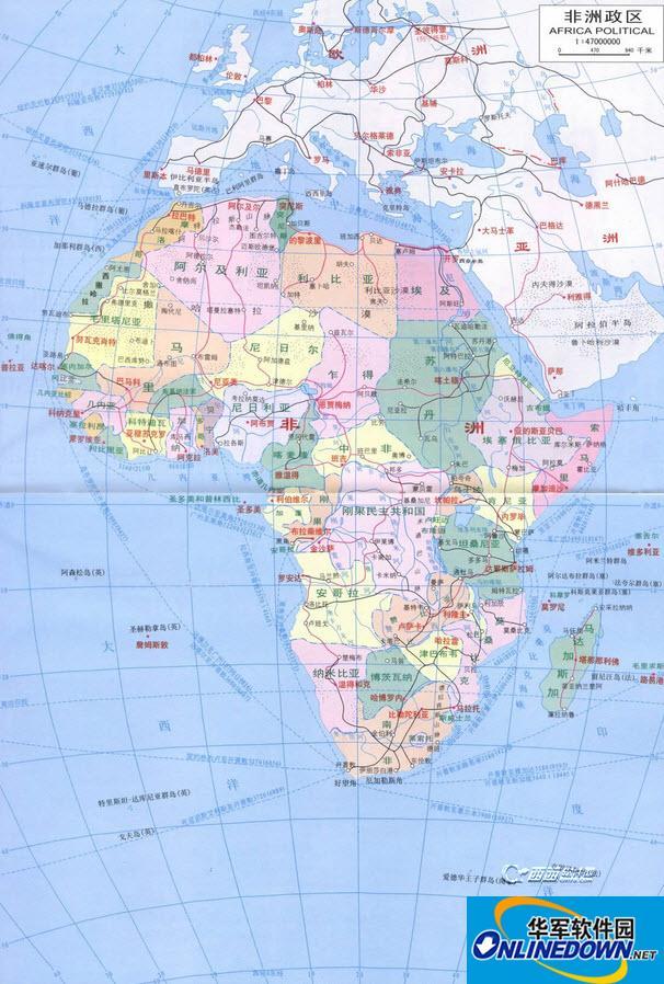 非洲地图高清中文版