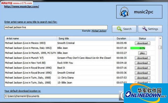 music2pc免费的带YouTube的MP3下载搜索工具