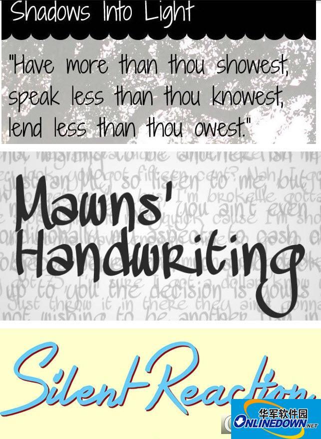 33款手写艺术英文字母特殊字体大全
