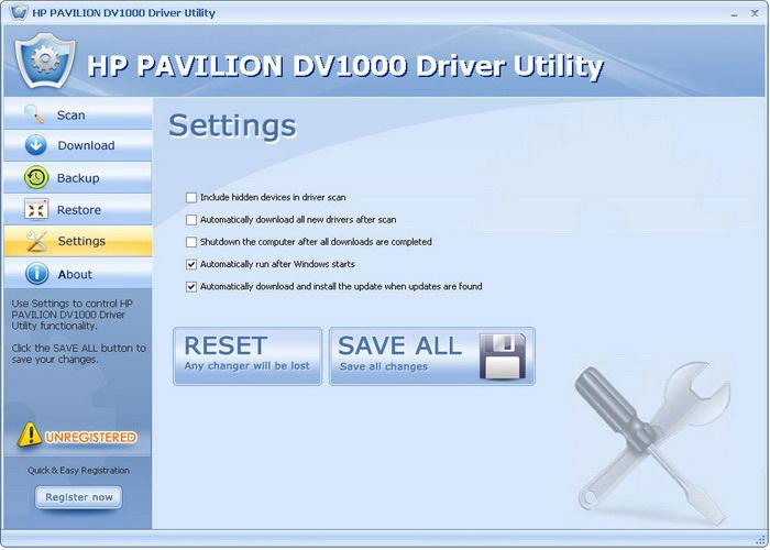 HP PAVILION DV1000 Driver Utility
