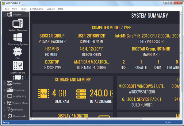 HARDiNFO Free(硬件配备信息基准测试软件)