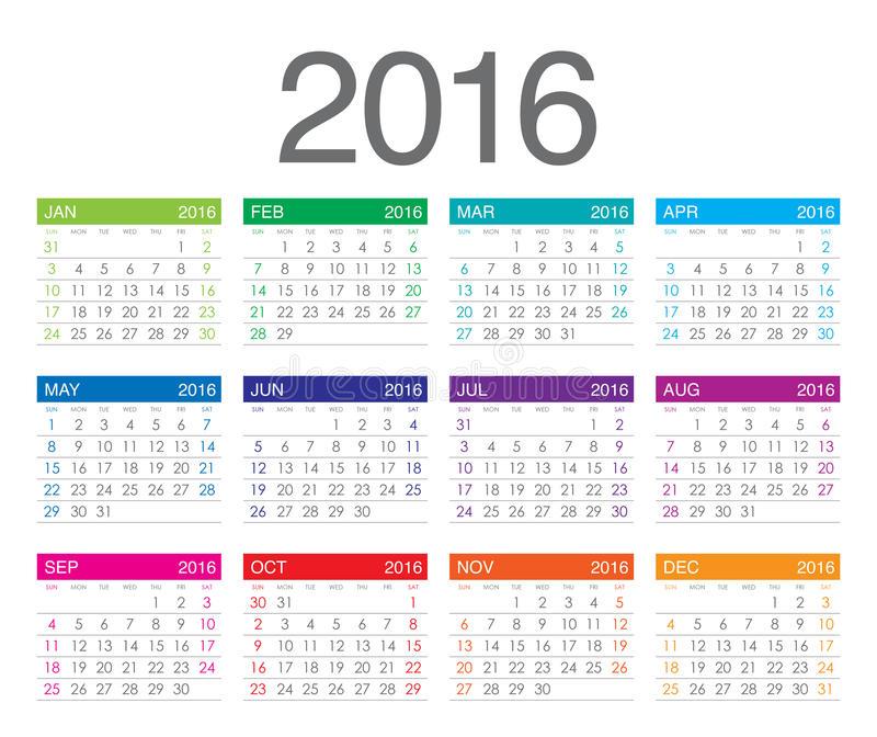 2016年日历表格A4 打印版