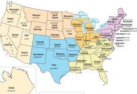 美国地图中文版...