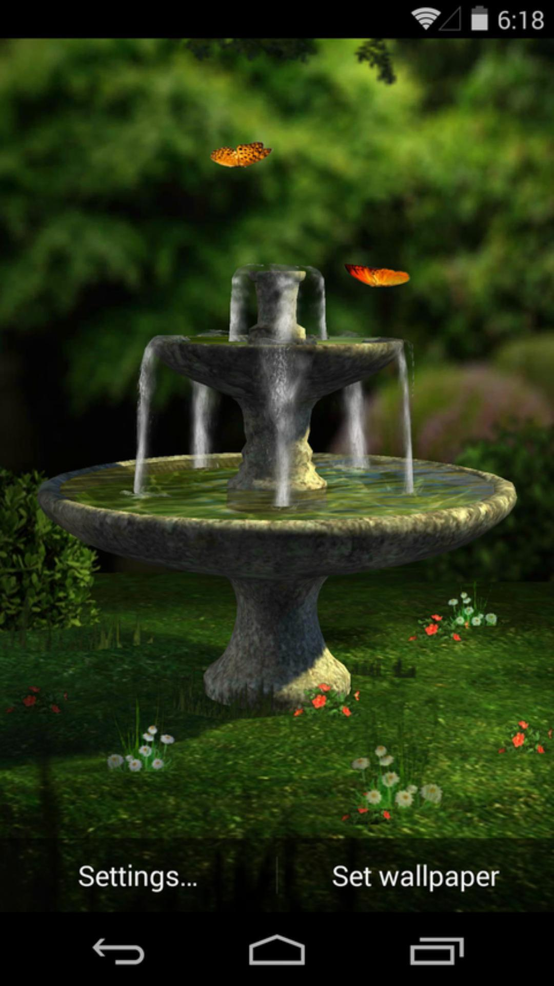 3D花园喷泉-梦象动态壁纸
