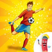 填色本:足球和运动。 着色游戏的孩子。 1