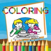幼儿园活动厨房着色书烹饪的孩子. 1.0.0