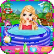 孩子们 游泳池 公园 - -  女孩游戏 1