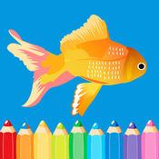 食品和动物填色 - 易着色书 1