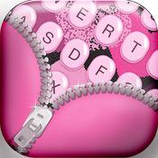 女孩 键盘 同 粉红色的 背景 和 表情符号 1